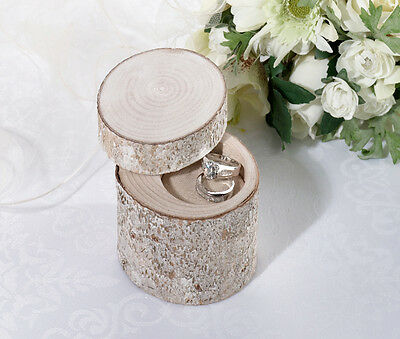 Rustic White Washed Pine Log Wedding Ring Holder Ring Pillow Alternative