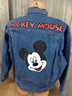 Mickey Mouse Unlimited Sz Large Denim Jean Trucker Jacket Walt Disney Vintage