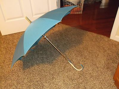 Vintage 1950s Blue Umbrella Parasol Leather Handle Made in Japan