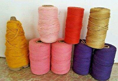 8 Assorted Vintage String, Cord, Floss? on Cardboard Textile Spools