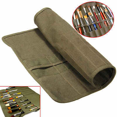 22 Hole Paint Brush Bag Holder Artist Draw Pen Watercolor Roll Up Canvas Cases
