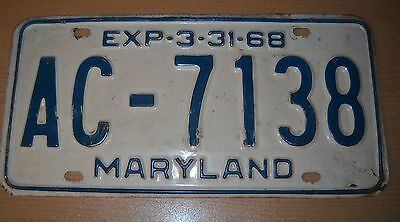 1968 Maryland license plate number AC 7138