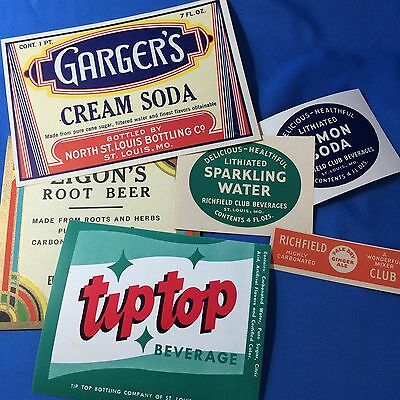 Original Vintage Richfield Club Tip Top SODA Bottle LABELS Elsberry St Louis MO