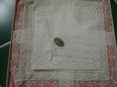 Three Nottingham lace trimmed handkerchiefs vintage and 3 embroided