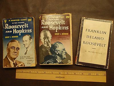 FDR paperback books, 3, Roosevelt and Hopkins and FDR A Memorial