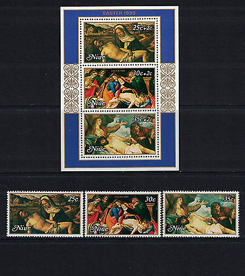 Br CW: Niue1980: #262-264+B37SS Easter '80 NH;Religion, Paintings-Lot#2/22