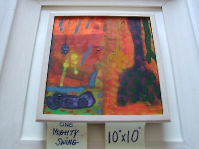Martin Finnin ONE MIGHTY SWING  oil on canvas picture size 10inch x 10 inch