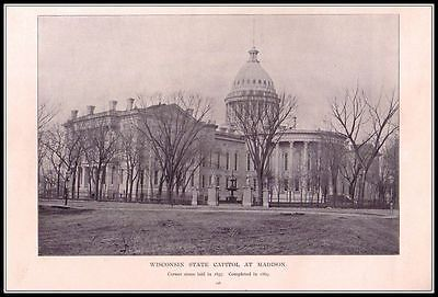 Wisconsin State Capitol At Madison - Vintage Print 1893