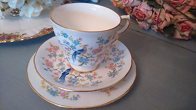 Set of 4 Vintage English Fine Bone China Queen Anne Teacups, Saucers & Plates