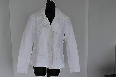 NEW WHITE COTTON H&M JACKET size 12 Euro 38 fab coat with stretch