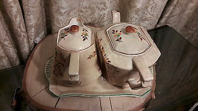 Superb Rare Art Deco G Clews & Co Teapot Water Jug And Stand Trio Set