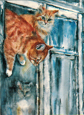 FREEDOM!   RED CAT ESCAPES THROUGH SMALL WINDOW Modern Russian card