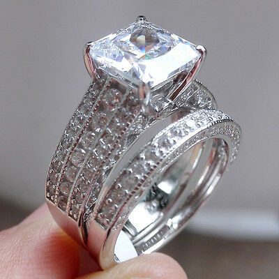 White Sapphire 925 Sterling Silver Wedding Engagement Ring Set Women's Size 5-10