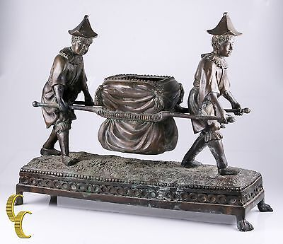 Maitland-Smith Bronze Sculpture of Two Boys with a Litter