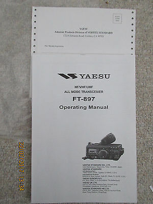 Yaesu FT897  HF/VHF/UHF Operating  Manual only with Schematic