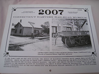 Vintage 2007 Conn. Eastern Railroad Museum calendar Willimantic Windham  Ct.