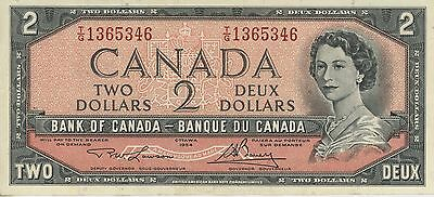 1954 CANADIAN TWO DOLLAR BILL BANK NOTE BANK OF CANADA $2 DEUX Very Good Cond.