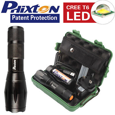 UK X800 Shadowhawk Tactical T6 LED Flashlight 18650 Battery Charger Torch 5000LM
