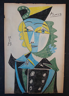 PABLO PICASSO  DRAWING ON ORIGINAL PAPER OF THE 30s-