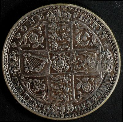 narkypoon's EXTREMELY HIGH GRADE 1849 Victoria STERLING SILVER Godless Florin