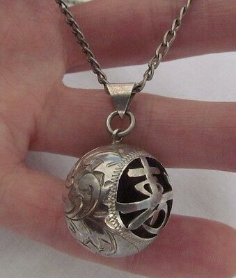 """Vintage Sterling Silver Chinese Character Etched Ball Chime Pendant, 17"""" chain"""