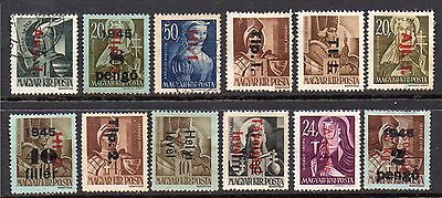 Hungary: A Group of 12-1946 Over Prints on 1943-45 Mainly Mint Surcharge Issues