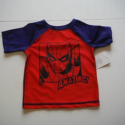 Old navy Red & Blue Spiderman Rash Guard size 2T new swimsuit Marvel