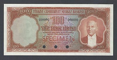 Turkey 100 Lira Law of 1930 (1962) P176ct  Specimen Color Trial  Uncirculated