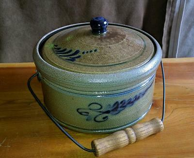 2004 Rowe Pottery Handmade Historical Collection Bale Handle Covered Crock AS IS