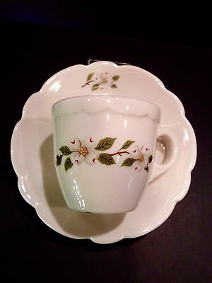 Restaurant BUFFALO CHINA  Demitasse Cup and Saucer in White with DOGWOOD Pattern