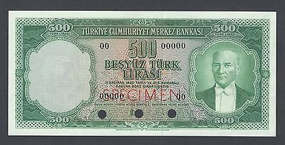 Turkey 500 Lira Law of 1930 (1962) P170ct Specimen Color Trial  Uncirculated