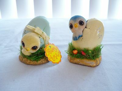 2 Darling Josef Originals/Happy Easter Chick Coming Out of Egg Collectibles