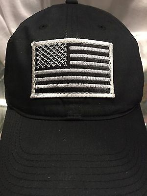Nike Golf Unstructured Black Cap 580087 Dad Hat w  Grey American Flag Patch dc2279f06fd