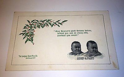 "Antique Victorian ""Romeo & Juliet"" Babies Trade Card Larkin Soap Advertising! NY"