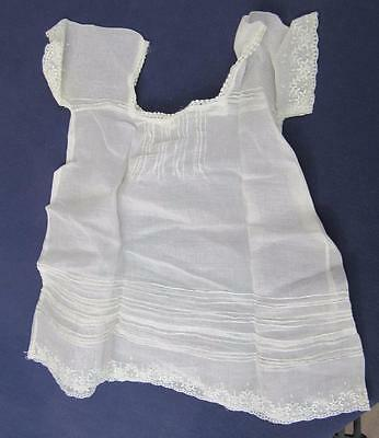 Antique BABY CHRISTENING DRESS Victorian Lace DOLL Square Neck