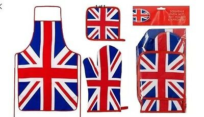 Union Jack Kitchen Set Apron Oven Glove Mitt Pot Holder Cotton Restaurant UK GB