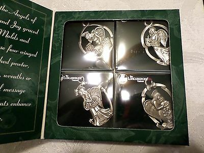 4 Longaberger Pewter Angel Ornaments New in Box