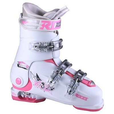 Roces Idea Free Adjustable Kid's Ski Boots White/Deep Pink New 22.5-25.5