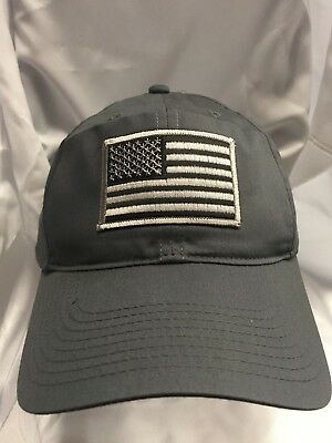 d0a0edc71d2 Nike Golf Unstructured 580087 Grey Twill Dad Hat With Grey American Flag  Patch