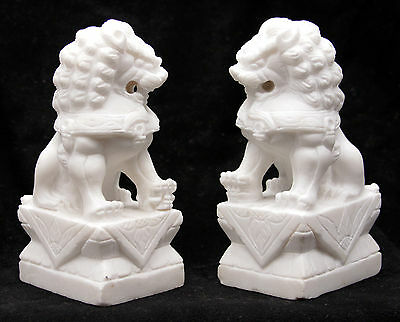 Pair of Carved Stone Marble Foo Dogs Shishi Dog Temple Guardian Lions Statue