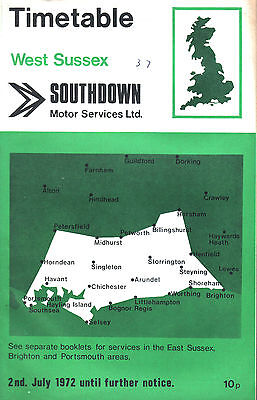Southdown West Sussex Timetable July 1972 With Map And Amendments Slip
