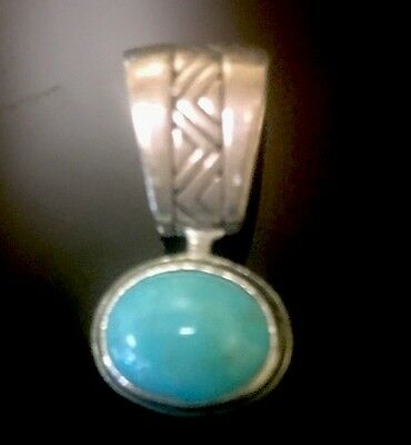 CAROLYN POLLACK Sterling Silver Turquoise Bear Reversible Pendant