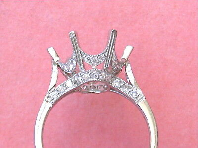 EDWARDIAN STYLE .60ctw DIAMOND 12mm PLATINUM SOLITAIRE ENGAGEMENT RING MOUNTING