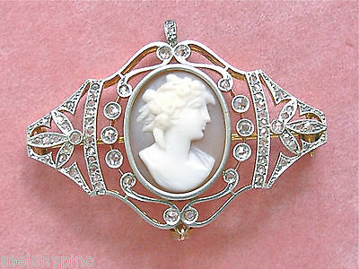 ANTIQUE VICTORIAN 1.08ctw DIAMOND SHELL GODDESS FLORA CAMEO PIN PENDANT 1910