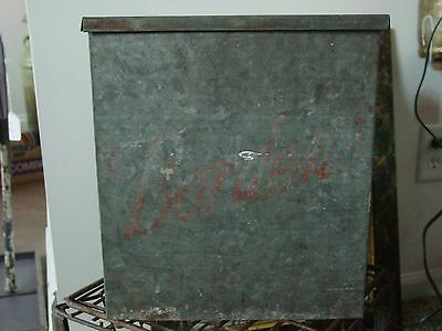 Old Zinc Galvanized Metal Bordens Milk Box, Vintage Porch Box for Milk Bottles
