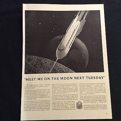 1941 Original Print Ad - Meet Me On The Moon Next Tuesday