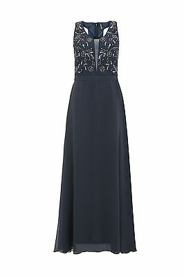 NEW BLUE Maxi Dress Gatsby Dress Embellished Bridesmaid Party Gown SIZE 14