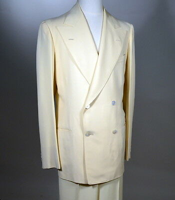 30s Vintage Wool CREPE Double Breasted Suit_Button Fly Trousers_Dated 1937_42L