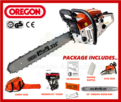 "Petrol Chainsaw 53cc With 20"" Oregon Guide Bar & Chain Plus Carry Case New"