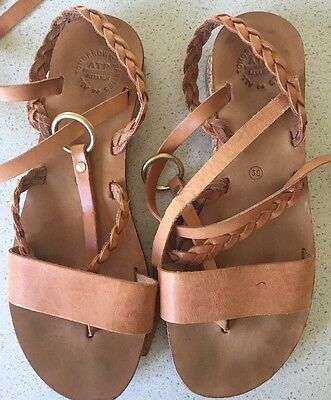 ATP All Tomorrow's Parties Tan Leather Wedge Sandals 39